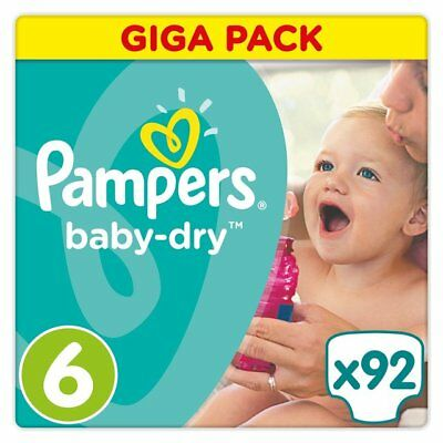 3 X Baby Dry Size 6 (X Large) 15+kg Giga Pack (92 Nappies) - FREE SHIPPING