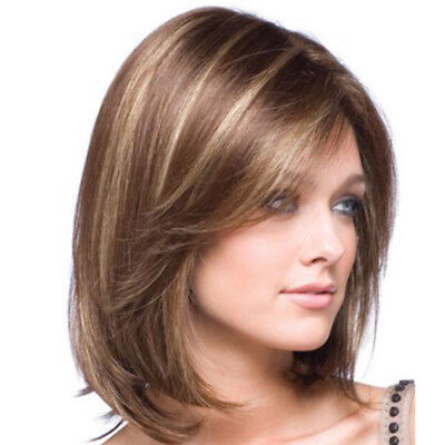 Womens Lady Full Bangs Wigs Short Wig Straight Bob Hair Cosplay Party Props AU