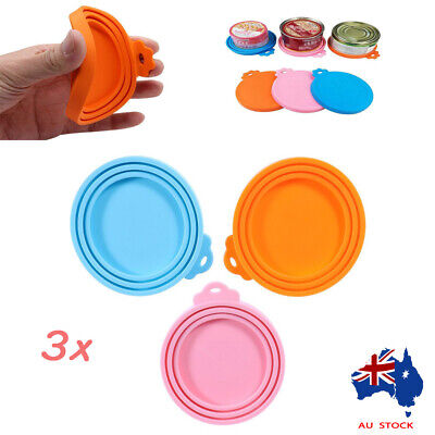 3x Pet Food Can Cover Lid Dog Cat Pet Tin Silicone Reusable Storage Cap Top AU