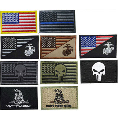 10 Pcs Set Punisher Skull Swat OPS Army Military Tactical Morale Badges Patch