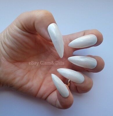 24 Hand Painted False Nails - White Pearl XL Stiletto Gel Full Cover Tips
