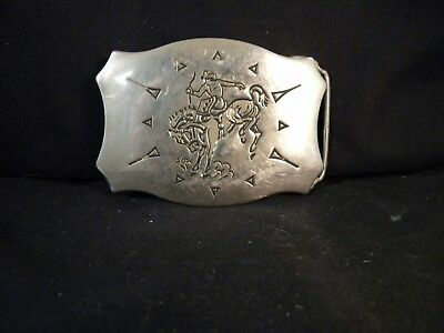 Vintage Chambers USA Cowboy Bronc Rodeo Rider Western Belt Buckle