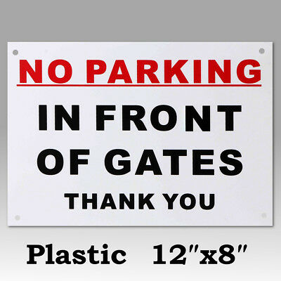 300x210mm No Parking In Front Of Gates Thank You Sign Pre-Drilled Sticker Decal