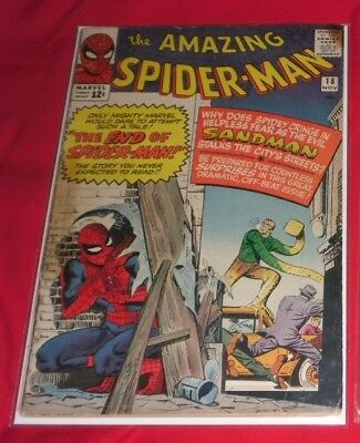 Amazing Spiderman 18# Nov 64 The Sandman Strikes 2Nd Sand Man Priced As Is !