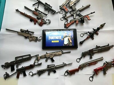 Fortnite Replica Keychain Mini Weapon Toys Models Guns Figures with FREE Stand