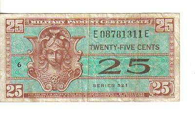 Us, 25 Cents, Military Payment Certificate, Series 521, Nd(1954)