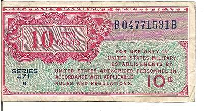 Us, 10 Cents, Military Payment Certificate, Series 471, P#m9, Nd(1947)