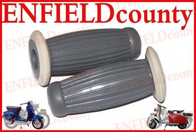 Lambretta Vespa Grey Rubber Bubble Balloon Grips White Ring For Gb Sx Tv Li @aud
