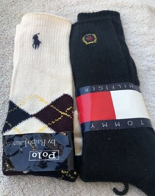 Vintage NOS Socks Polo By Ralph Lauren & Tommy Hilfiger (Lot Of 2) Made In USA