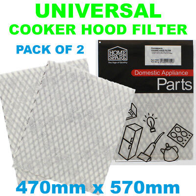 Homark Cooker Hood Extractor Grease Filter Cut To Size 47cm x 57cm x2
