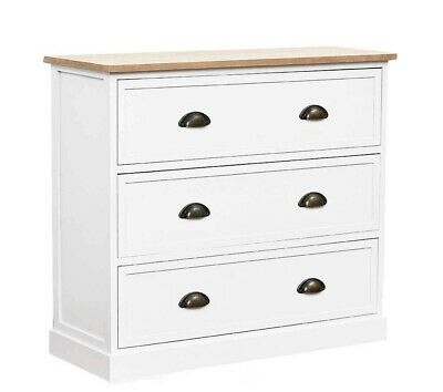 White Wooden Country Chest of 3 Deep Drawers Brass Cup Handles Bedroom Furniture