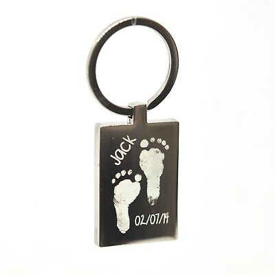 Personalised Engraved Handprint / Footprint / Paw Print Rectangle Keyring