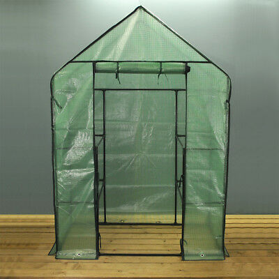 Walk In Greenhouse Grow House with Reinforced Cover (195 x 140cm) with Shelving