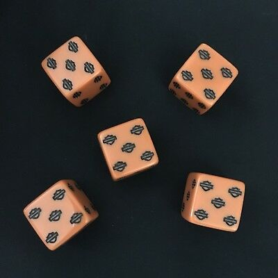 Harley Davidson Bar & Shield Logo Dice-Set/5, Orange w/Black-NEW