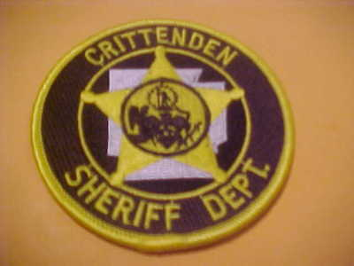 Crittenden Arkansas Police Patch Shoulder Size Unused 3 1/2 X 3 1/2 Inch