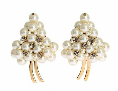 NEW DOLCE & GABBANA Earring Gold Brass Floral White Pearl Clip On Sicily