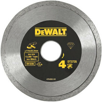 "DEWALT DT3735 41/2"" 115MM X 22.2MM DIAMOND CUTTING DISC No 4 TILES CERAMICS ETC"