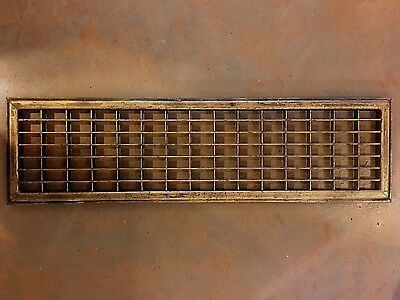 Antique Cast-Iron House Heating Floor Grate Gold Patina