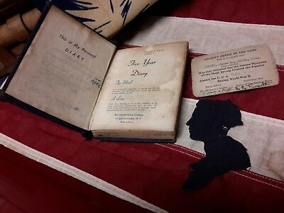 WW11 Navy Diary 1944/1945 James Guerry USS Charles Kimmel Equator Card Silhouett