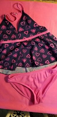 Girls Candy Girl Swim, 2 Piece Swimsuit, Navy With Pink Hearts And Pink Bottoms,