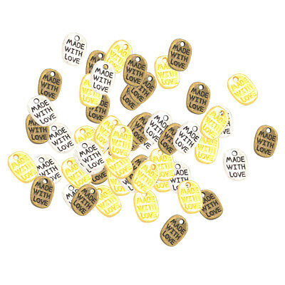 60 Pcs Mixed Color Words Plate Charms Pendants DIY Necklaces Bracelets Craft