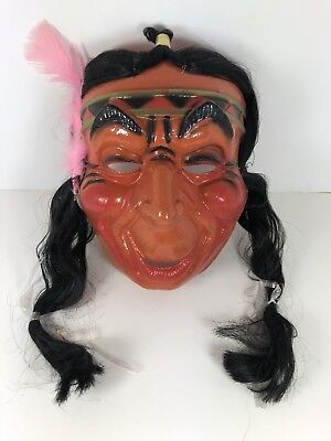Vintage 1960's Halloween Native American Plastic Mask Never Worn