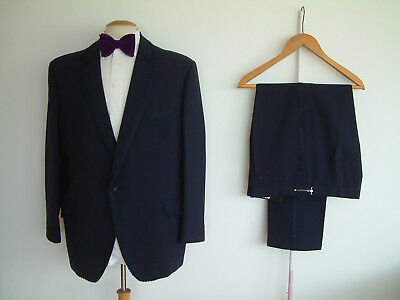 """VINTAGE BESPOKE MADE DINNER SUIT..44"""" x 38..HOPSACK..FLAMBOYANT..FUNCTIONAL CUFF"""