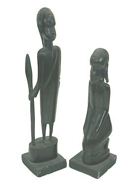PAIR Carved EBONY WOOD Tribal MAN & WOMAN Figures Statues Warrior w Spear AFRICA