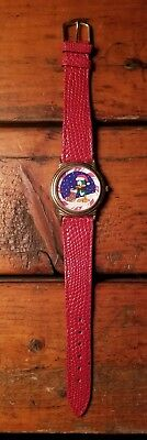 Warner Bros.Tiny Toons Adventures Plucky Duck Womens Watch Red Leather Band