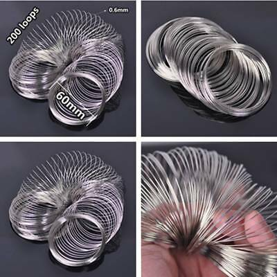 200Loops 0.6mm 60mm Memory Steel Wire Cuff Bangle Bracelet DIY Jewelry Making