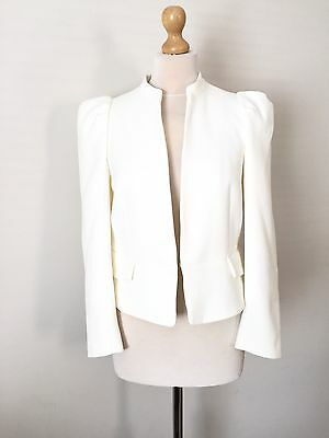 Zara Ecru Full Sleeve Blazer Smart Jacket Size L UK 14 BNWT