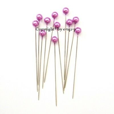 """144 Premium Quality Oasis® 6mmØ Round Pearl Bouquet Corsage Pin 2.5"""" High PURPLE"""