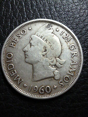 Dominican Republic Silver Coin 1/2 Peso Km21 Vf 1960