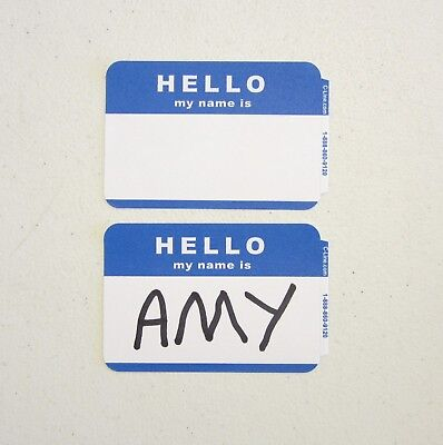 100 c line blue visitor name tags labels badges stickers peel and