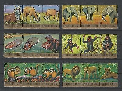 Guinea 1977 Sc C137-42a-c  Endangered Animals  MNH Set of Strips $42.25