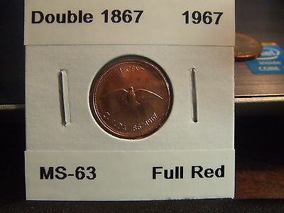 CANADA ONE CENT 1967 Double 1867!!!!!  MS-+++++ !!!!! Full Red !!!!!