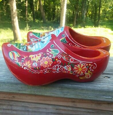 Dutch Wooden Shoes Hand carved Hand Painted Clogs Holland RED