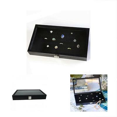 Glass Jewelry Boxes Top Ring Display Showcase With Velvet Insert Liner Organizer