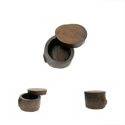 Wooden Jewelry Boxes Round - Handmade Antique Wedding Ring Case, Portable Small