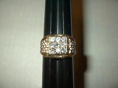 Vintage Men's Heavy Goldplate & 9 Clear Crystal Ring - Size 11 - 9.1 Grams