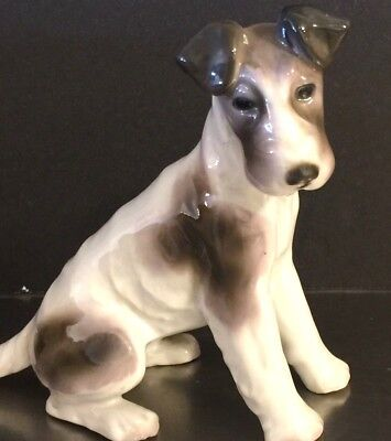 Vintage Terrier Figurine Porcelain Made Germany Wirehair Pet Lover Rescue Gift