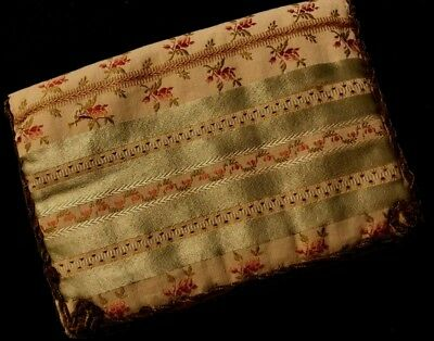 Antique Gorgeous Decorative Fabric Handkerchief Holder, Keeper Jacquard Lining