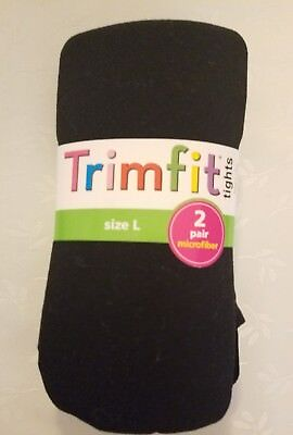 NWT Girl's TRIMFIT Nylon Tights, 2 Pair Large (10-14) Black  61500