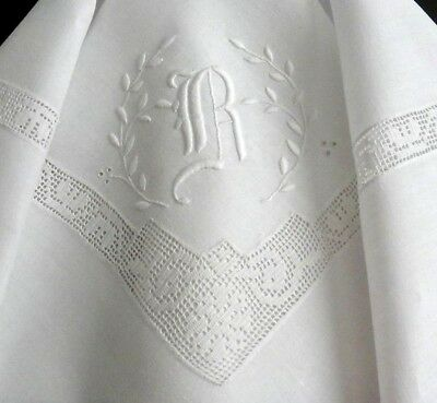 "Vintage Linen Luncheon Tea Tablecloth 42"" Embroidered ""R"" Monogram Filet Crochet"