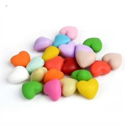 DIY 12X  Safety Silicone Heart-shape Beads Baby Molar toy Pacifier chain 20mm