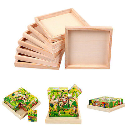 1x Wood Plate for Six-Sided Painting Building Block Wood Pallet 12cm X 12cm LZ