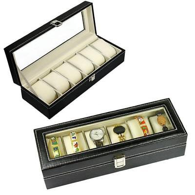 6- 24 Slot Watch Box Leather Display Case Organizer Top Glass Jewelry Storage ZH