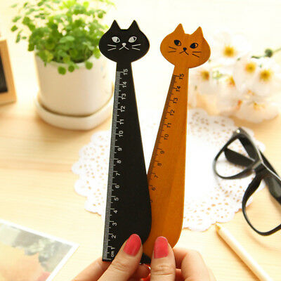 2pcs Cute Cartoon Cat Wooden Rulers Kawaii Stationery Novelty Kids Drawing Tool