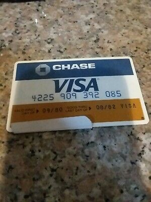 Vintage  1980 Visa Card Never Signed Or Used Expired classic logo chase bank