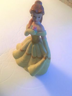 PORCELAIN Belle Figurine Disney's Beauty & The Beast with Rose yellow ball gown